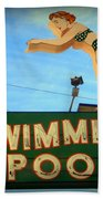 Vintage Swimming Lady Hotel Sign Beach Towel