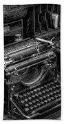 Vintage Typewriter Beach Towel by Adrian Evans