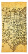 Vintage United States Highway System Map On Worn Canvas Beach Sheet