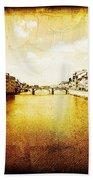 Vintage View Of River Arno Beach Towel