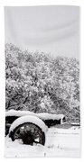 Vintage Wagon In Snow And Fog Filled Valley Beach Towel