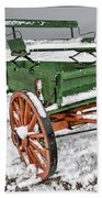 Vintage Wagon In The Snow E98 Beach Towel