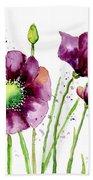 Violet Poppies Beach Towel by Annie Troe