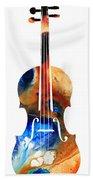Violin Art By Sharon Cummings Beach Towel