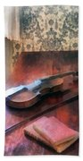 Violin On Credenza Beach Towel