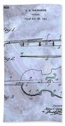 Violin Patent Poster Beach Towel