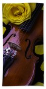 Violin With Yellow Rose Beach Towel
