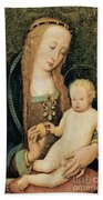 Virgin And Child With Pomegranate Beach Towel by Hans Holbein the Younger