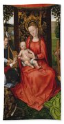 Virgin And Child With Saints Catherine Of Alexandria And Barbara Beach Towel