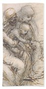 Virgin And Child With St. Anne Beach Towel by Leonardo da Vinci