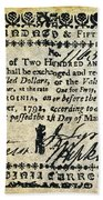 Virginia Banknote, 1781 Beach Towel