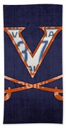 Virginia Cavaliers College Sports Team Retro Vintage Recycled License Plate Art Beach Towel