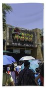 Visitors Thronging The Jurassic Park Rapids Adventure Ride Beach Towel