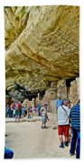 Visitors To Spruce Tree House On Chapin Mesa In Mesa Verde National Park-colorado Beach Towel