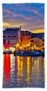 Vodice Waterfront Colorfu Evening Panorama Beach Towel