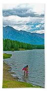 Wading In Johnson Lake In Banff Np-alberta Beach Towel