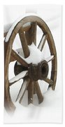 Wagon Wheel In Snow Beach Towel