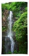 Waikani Falls At Wailua Maui Hawaii Beach Towel