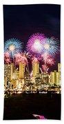 Waikiki Fireworks Celebration 2 Beach Towel