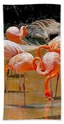 Waikiki Flamingos Beach Towel