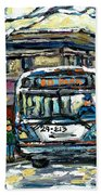 Waiting For The 80 Bus Montreal Memories Winter City Scene Painting January Art Carole Spandau Art Beach Towel