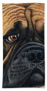 Waiting Bullmastiff Drawing Beach Towel by Michelle Wrighton