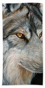 Waiting Wolf Beach Towel