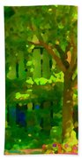 Walk In The City Past Blue Houses Staircases And Shade Trees Montreal Summer Scene Carole Spandau Beach Towel