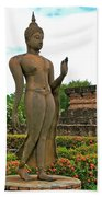 Walking Buddha Image In Wat Sa Si In Sukhothai Historical Park-t Beach Towel