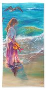 Walking In The Waves Beach Towel