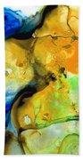 Walking On Sunshine - Abstract Painting By Sharon Cummings Beach Sheet