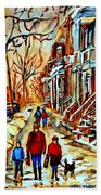 Walking The Dog By Balconville Winter Street Scenes Art Of Montreal City Paintings Carole Spandau Beach Towel
