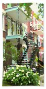 Walking Verdun In Summer Winding Staircases And Pathways Urban Montreal City Scenes Carole Spandau Beach Towel