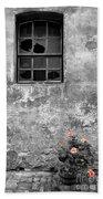 Window And Flowers Beach Towel