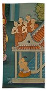 Wall Painting In Wat Po In Bangkok-thailand Beach Towel