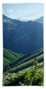 1m5903-wallowa Mountains And Valley Of The East Fork Beach Towel