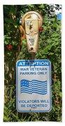Veteran Parking Sign Beach Towel