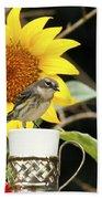 Sunflower And Warbler Bird Beach Towel