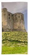 Warkworth Castle With  Daffodils Beach Towel