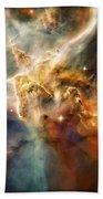 Warm Carina Nebula Pillar 3 Beach Towel by Jennifer Rondinelli Reilly - Fine Art Photography