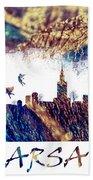 Warsaw Skyline Postcard Beach Towel