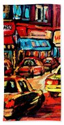 Warshaw's Bargain Fruits Store Montreal Night Scene Jewish Montreal Painting Carole Spandau Beach Towel