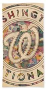 Washington Nationals Vintage Art Beach Towel
