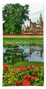 Wat Mahathat Reflection In 13th Century Sukhothai Historical Park-thailand Beach Towel