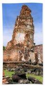 Wat Mahathat Temple In Ayutthaya Beach Towel