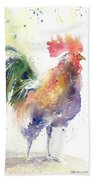 Watchful Rooster Beach Towel