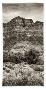Watchman Trail In Sepia - Zion Beach Towel