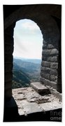 Watchtower Window View From The Great Wall 637 Beach Towel