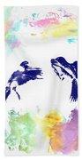 Water Color Bird Fight Beach Towel