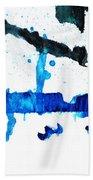 Water Dance - Blue And White Art By Sharon Cummings Beach Sheet